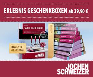 Beim Erlebnisportal Jochen Schweizer finden sich zahlreiche Geschenkboxen und Erlebnisgeschenke zum Bereich Erlebnisdinner.